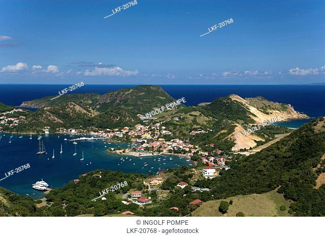 Aerial View of Terre-de-Haute, Harbour and bay, Les Saintes Islands, Guadeloupe, Caribbean Sea, America