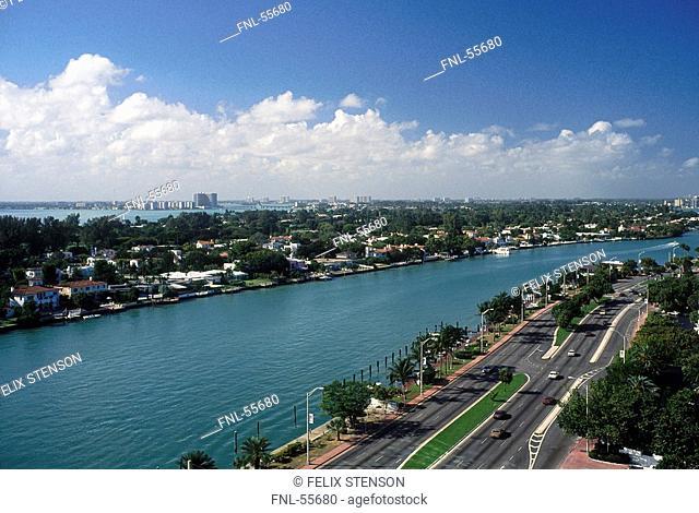 Road along waterway, Intracoastal Waterway, Miami Beach, Florida, USA