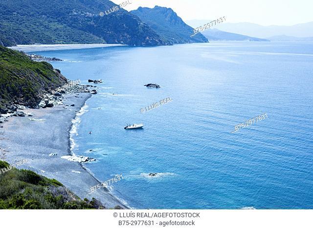 View of a beach. Plage de Nonza, Nonza, Corsega, France