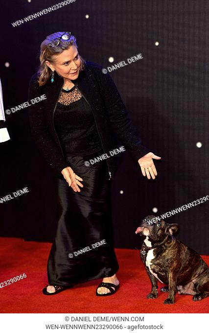 Star Wars: The Force Awakens - European film premiere held at the Odeon Leicester Square. Featuring:  Carrie Fisher Where: London