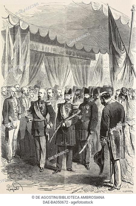 Sha of Iran, Naser al-Din Shah Qajar being received by Patrice de MacMahon, President of the Republic at Passy station, Paris, France
