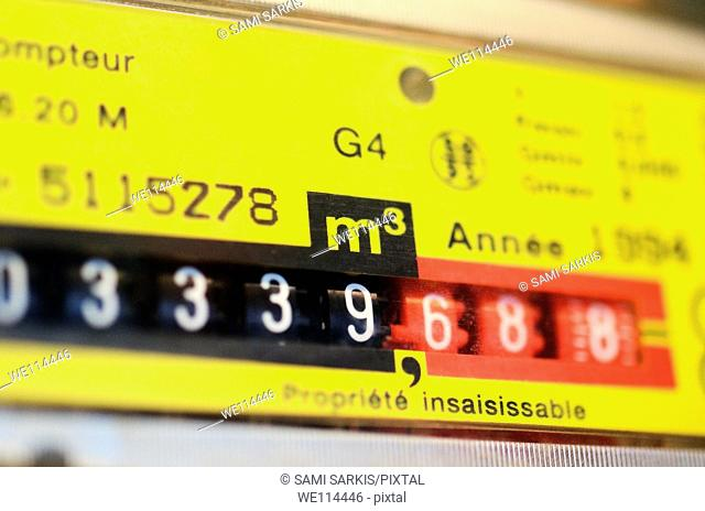 Gas meter in kitchen, close-up, France