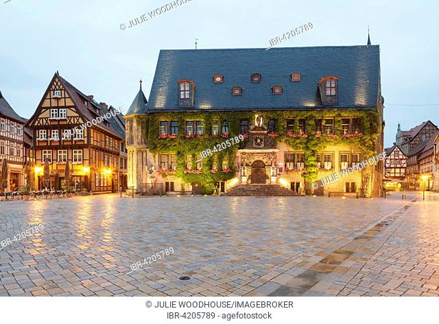 Market Square with the Town Hall, Quedlinburg, Saxony-Anhalt, Germany