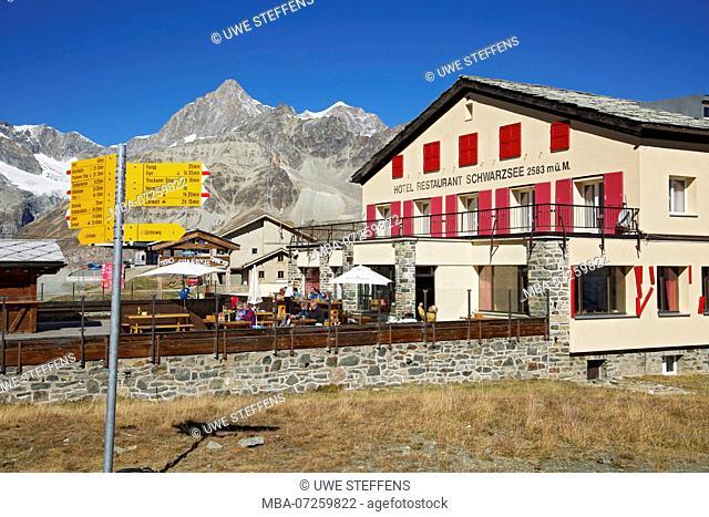 Hotel 'Schwarzsee' in front of Obergabelhorn and Wellenkuppe near Zermatt