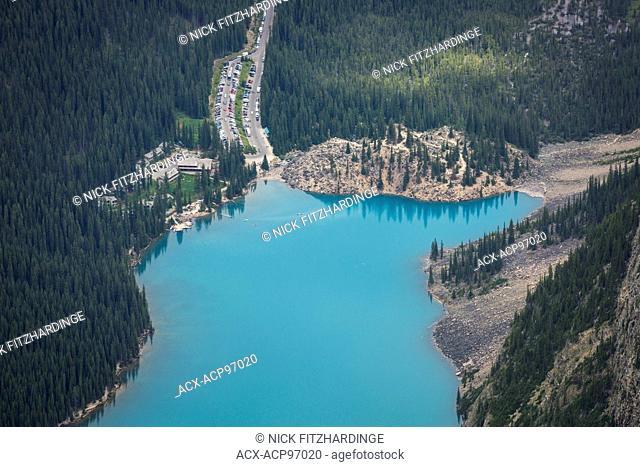 Telephoto view of Moraine Lake from Peak number 3, Mt Bowlen, Banff National Park, Alberta, Canada