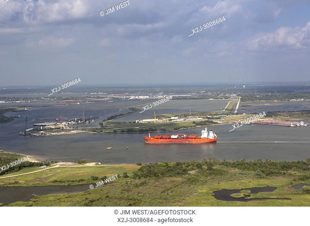 Houston, Texas - The Bow Sirius, a Norwegian oil/chemical tanker, in the Houston Ship Channel