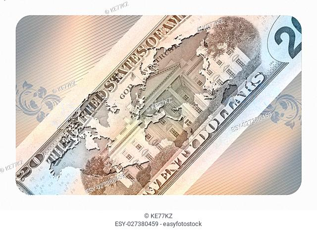 Futuristic background with american banknote and world map for the design of your business card