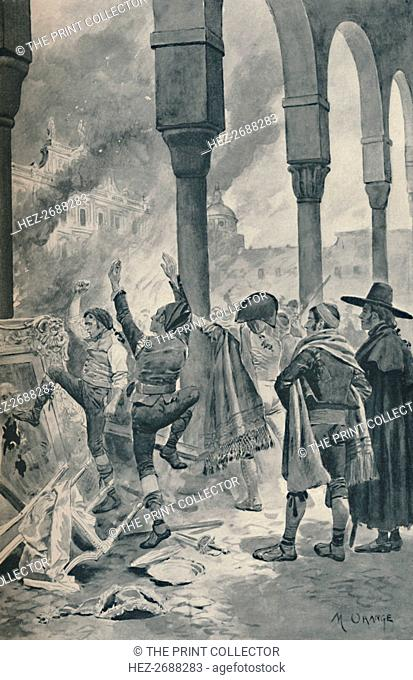 'The Burning of a Palace of Godoy By The Populace at Madrid', 1896. Artist: Unknown