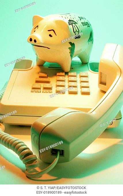 Piggy bank with telephone