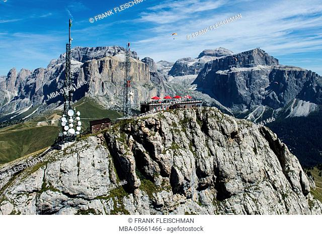 Col Rodella, wall bars, view terrace, the Dolomites, Rifugio Col Rodella, Ferrata Col Rodella, Sella group, mast, paraglider, aerial picture, high mountains