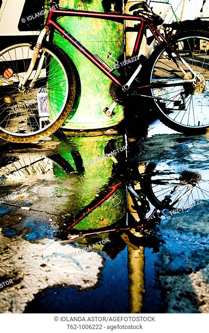 Bicycle and reflection on the dock  Fishing port of Vilanova i la Geltrú  Catalunya  Spain