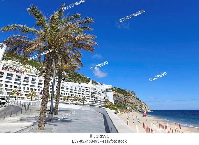 Promenade near the beach and the Atlantic coast of Sesimbra, Portugal