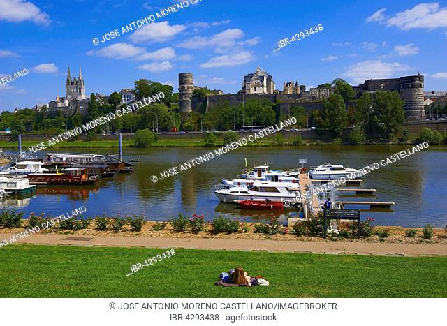 Château d'Angers, castle and cathedral with harbour on the Maine river, Angers, Maine-et-Loire, Anjou, Pays de la Loire, Loire Valley