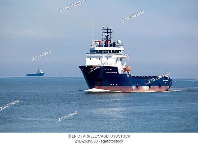 "multi purpose oil industry vessel """"Highland Monarch"""" arriving Aberdeen Scotland"