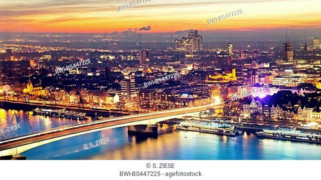drige Deutzer Bruecke over river Rhine at sunset, Germany, North Rhine-Westphalia, Cologne