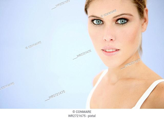 young, woman, beauty, make up, cosmetics, face, po