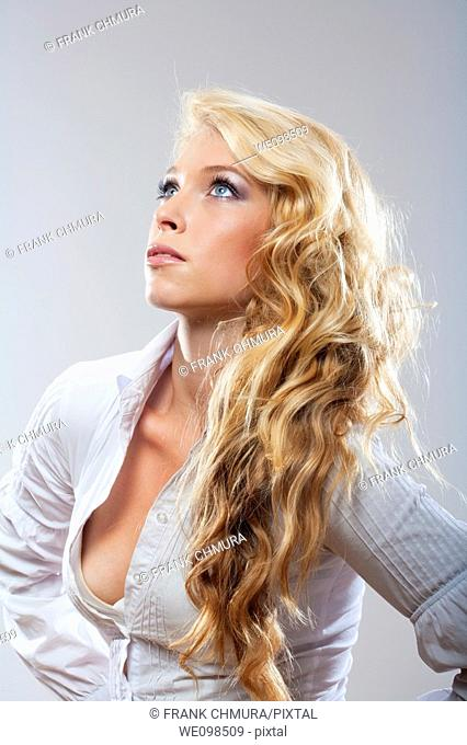 beautiful blond shot against white background