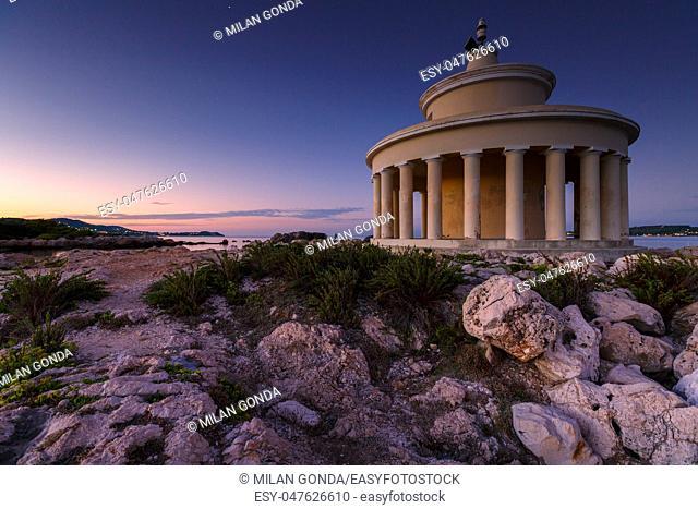 Morning at the Lighthouse of Saint Theodoroi near the town of Argostoli on Kefalonia island in Greece.