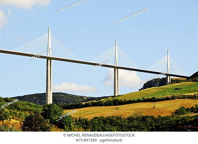 Highway A75 over river Tarn, Millau Viaduct designed by Norman Foster, Aveyron, Midi-Pyrenees, France