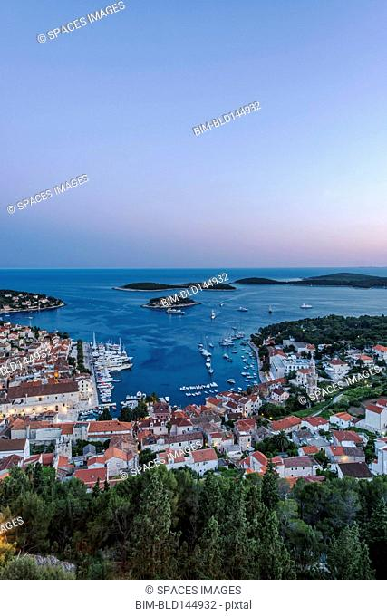 Aerial view of coastal town on hillside, Hvar, Split, Croatia