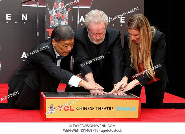 Sir Ridley Scott Hand and Footprint Ceremony Featuring: Sir Ridley Scott, Alwyn Hight Kushner Where: Hollywood, California