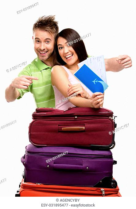 Couple with suitcases and tickets, isolated. Concept of romantic vacations and lovely honeymoon