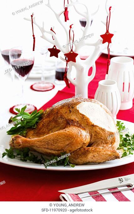 Festive roast turkey with fresh herbs