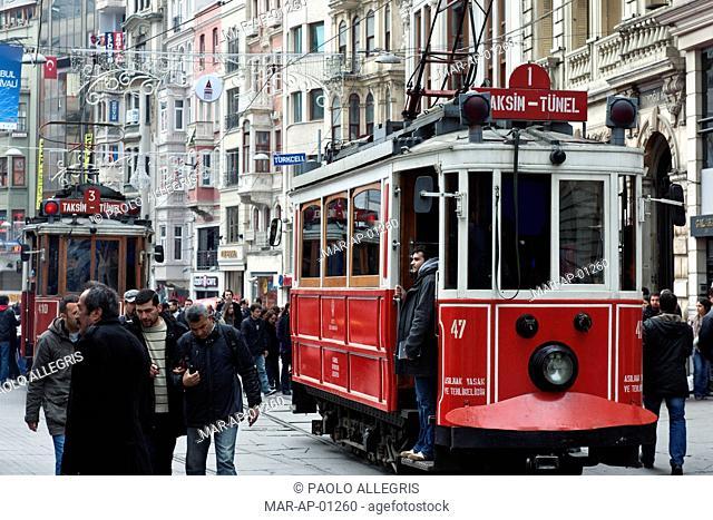 tram istiklal caddesi, istanbul, turkey