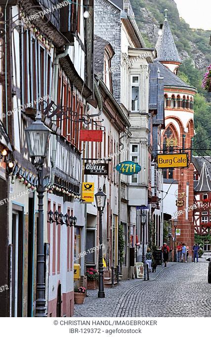 A lane with old houses, Bacharach on the Rhine, Rheinland-Pfalz, Germany