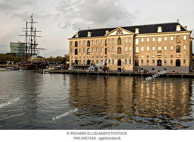 The National Maritime Museum or Scheepvaart and replica of the Amsterdam, an 18th-century ship which sailed between the Netherlands and the East Indies in...