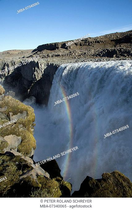 Iceland, force of nature Dettifoss, Europe's strongest waterfall, rainbow