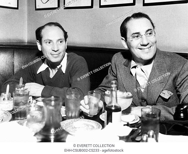 Chico (left) and Groucho Marx at lunch in the famous Brown Derby Restaurant in Hollywood. Feb. 16, 1933 (CSU-2015-11-1249)