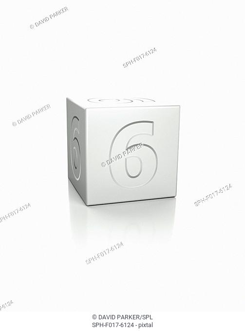 Cube with the number 6 embossed