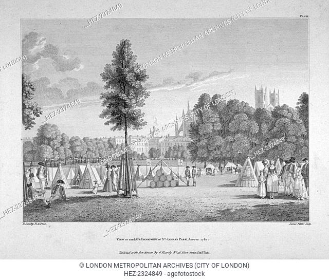 Army encampment in St James's Park, Westminster, London, 1780. Troops were stationed in St James's Park in the aftermath of the Gordon Riots