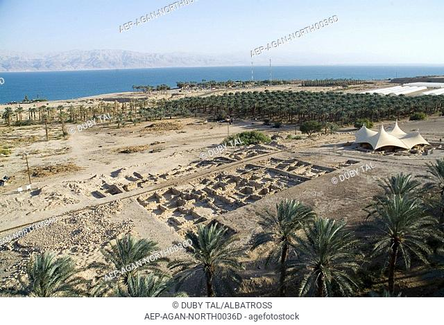 Aerial photograph of the excavation of Ein Gedi in the northern basin of the Dead Sea