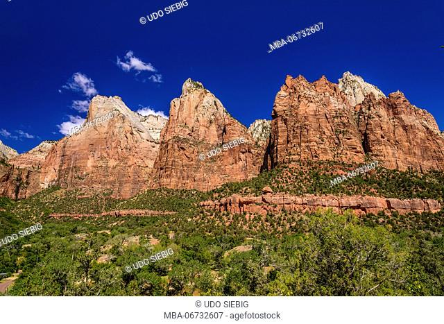 The USA, Utah, Washington county, Springdale, Zion National Park, Zion canyon, court of the Patriarchs