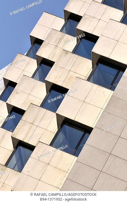 Triangle building. Pelai street near Catalunya square, Barcelona, Catalonia, Spain