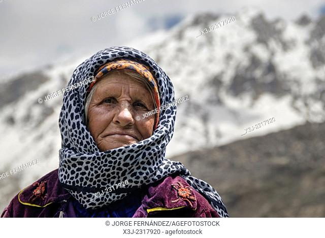 Portrait of a woman from Pamir mountains, Tajikistan, Central Asia