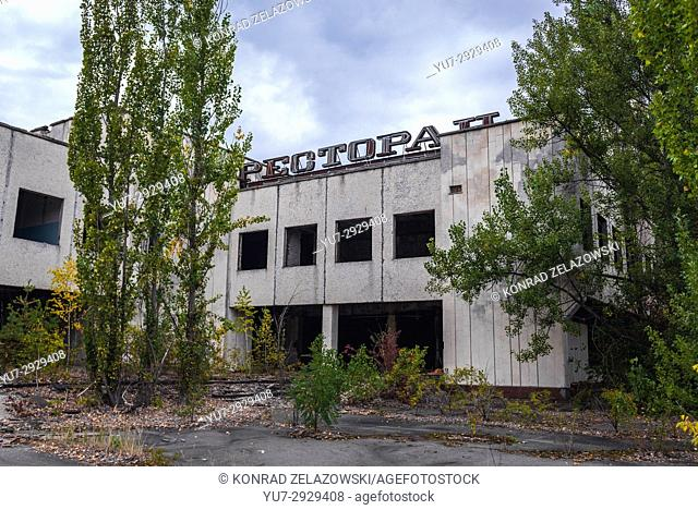 Polissya Restaurant in Pripyat ghost city of Chernobyl Nuclear Power Plant Zone of Alienation around nuclear reactor disaster in Ukraine