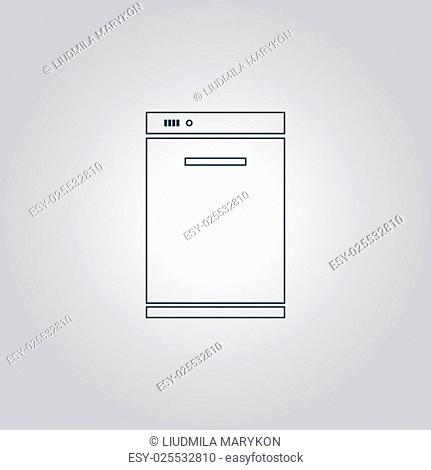 Kitchen - Dishwasher. Flat web icon, sign or button isolated on grey background. Collection modern trend concept design style vector illustration symbol