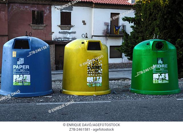 A color receptacles in a street of Sentiu of Sio, Lerida province, Catalonia, Spain