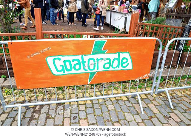 Goats compete during the Oxford and Cambridge Goat Race at Spitalfields City Farm in East London. The annual event, which takes place on the same day as the...