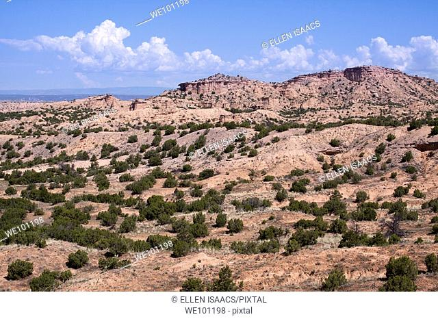 Typical New Mexican mesa landscape outside of Chimayo, near Santa Fe, New Mexico, USA