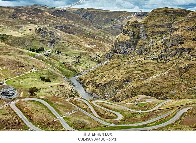 Landscape view of rural roads with hairpin bends, Huinchiri, Cusco, Peru