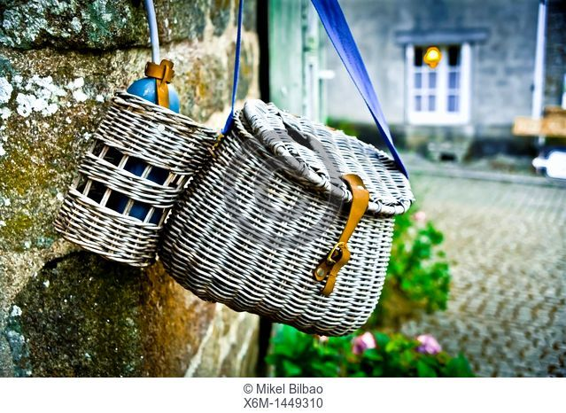 picnic hamper  Locronan Lokorn in Breton, Finistère department in Bretagne in northwestern France