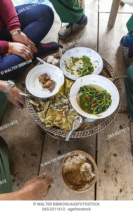 Laos, Sainyabuli, Elephant Conservation Center, traditional Lao communal meal, NR