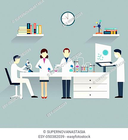scientist at work cartoon theme vector illustration