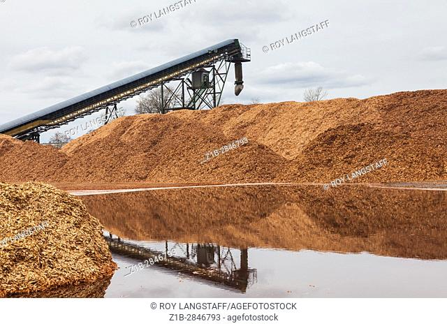 Piles of processed wood chips ready for loading