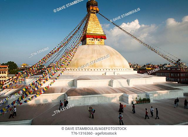 The eyes of Nepal, the Tibetan Buddhist stupa of Boudhanath in Kathmandu