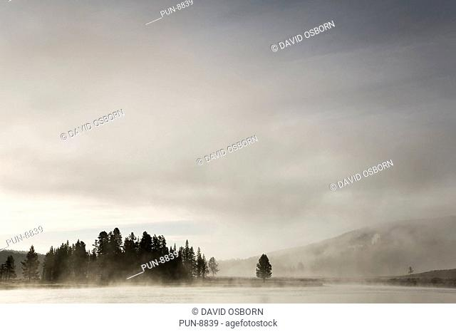 Early morning mists forming along Yellowstone River